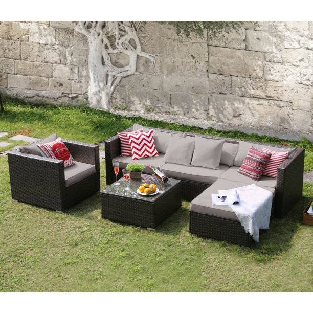 Tribesigns Outdoor Furniture Sectional Sofa Set, 6 PCS Rattan Sofa & Cushions Set for Patio, Yard, Grass Ground, Poolside