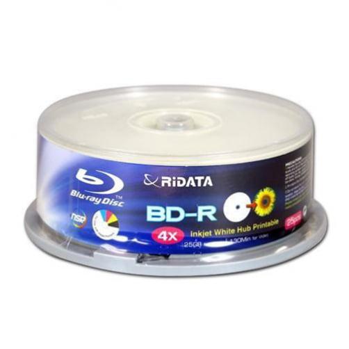 250 Ridata Blu-ray 4X BD-R 25GB Disc White Inkjet Hub