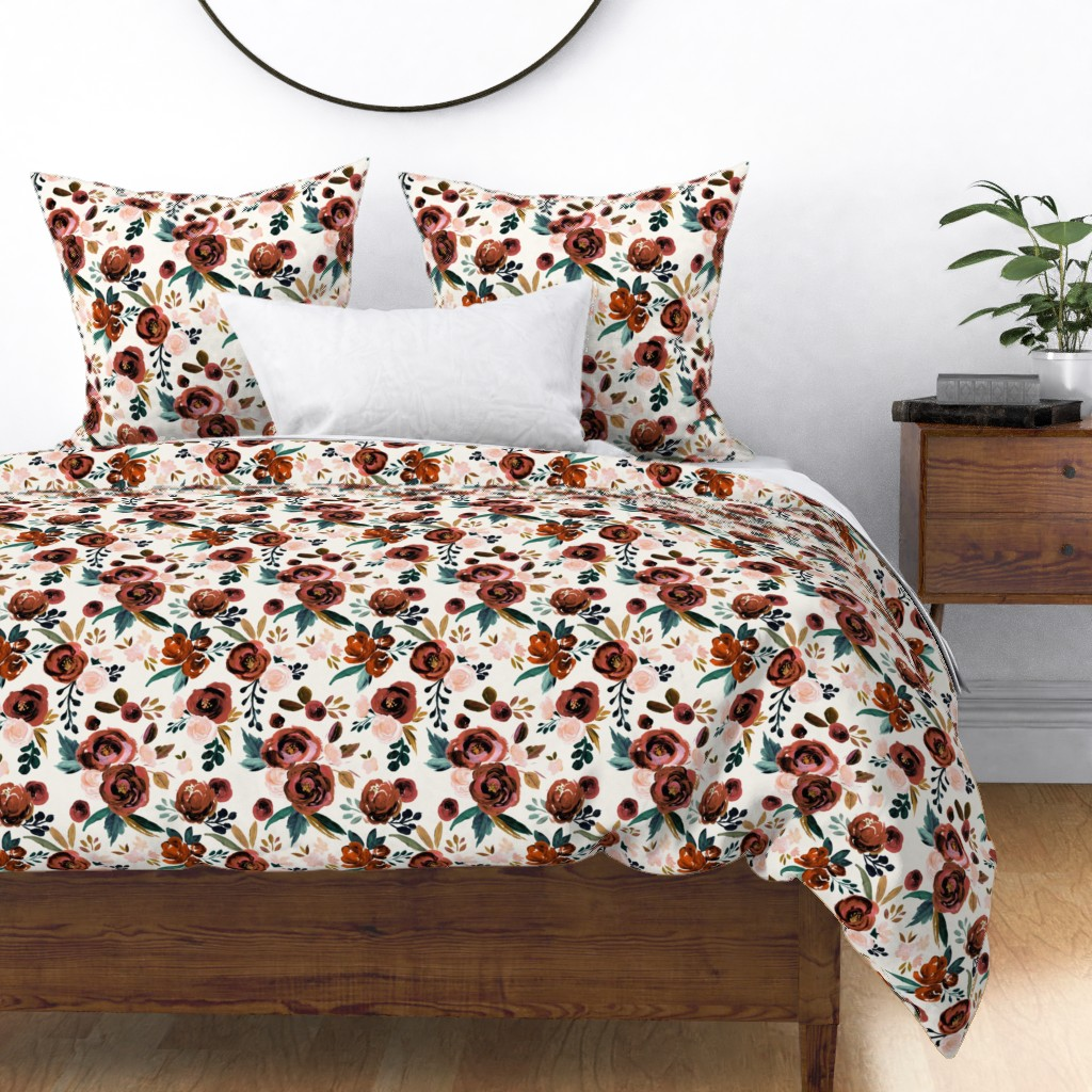 Watercolor Roses Rose Floral Rust Red Orange Sateen Duvet Cover By Roostery Walmart Com Walmart Com