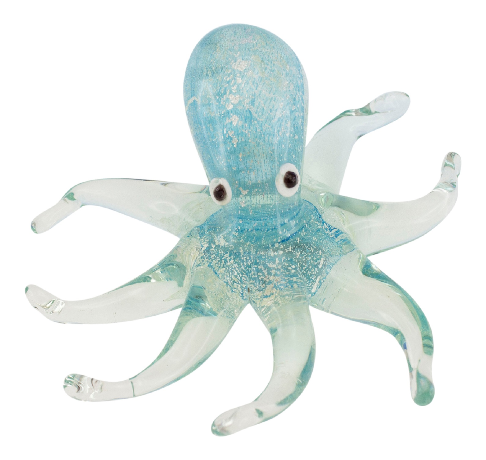 Coastal Octopus Glow in The Dark Art Glass 5 Inch Tabletop Figurine