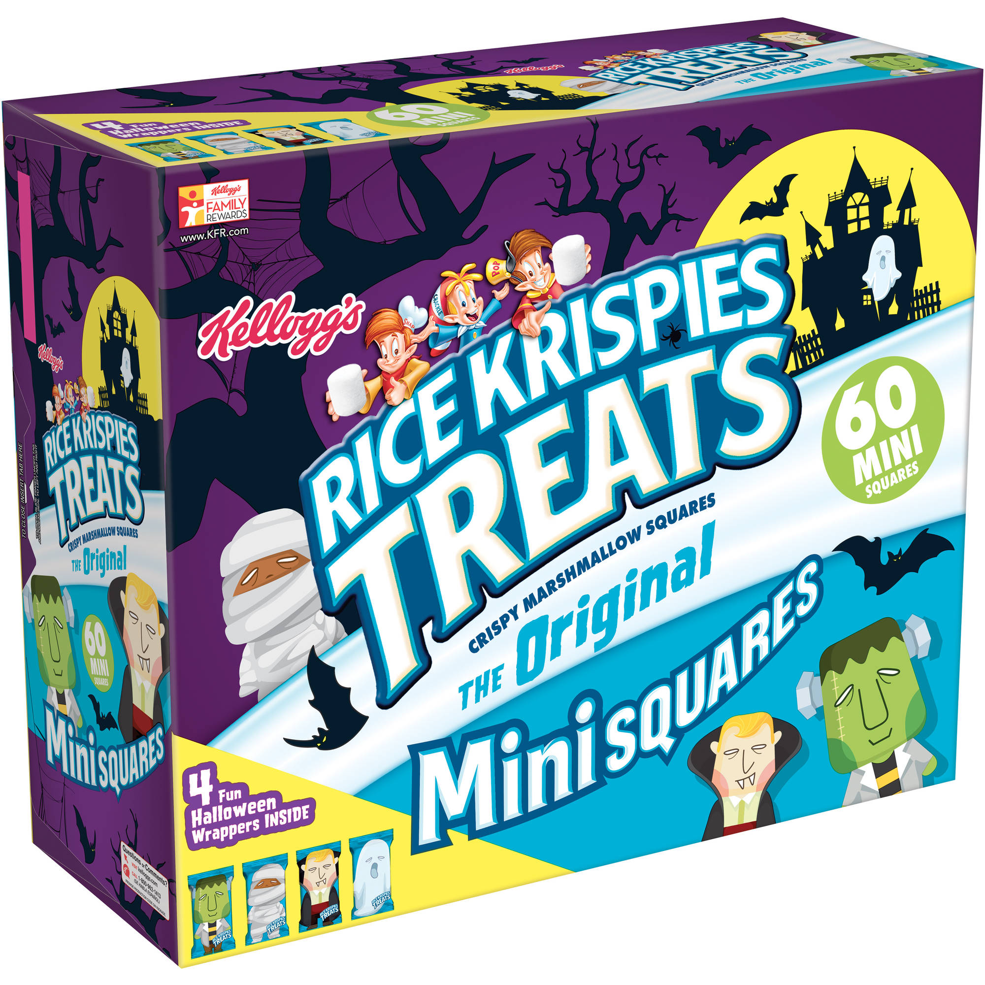 Kellogg's Halloween Rice Krispies Treats The Original Mini Crispy Marshmallow Squares, 60 count, 23.2 oz