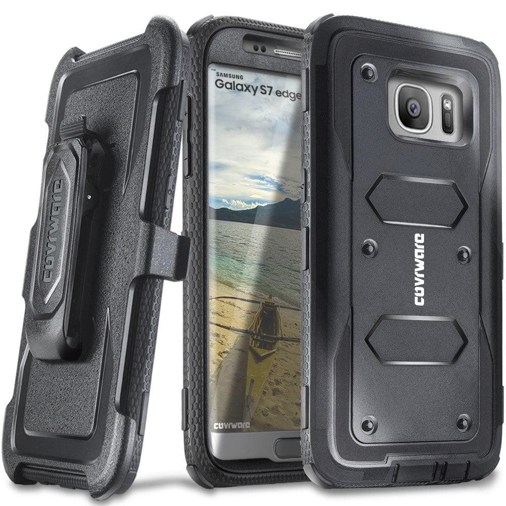 COVRWARE® Galaxy S7 Edge [Aegis Series] + Full-Coverage Screen Protector, Heavy Duty Rugged Full-Body Armor Holster Case [Belt Swivel Clip][Kickstand] For Samsung Galaxy S7 Edge, Black