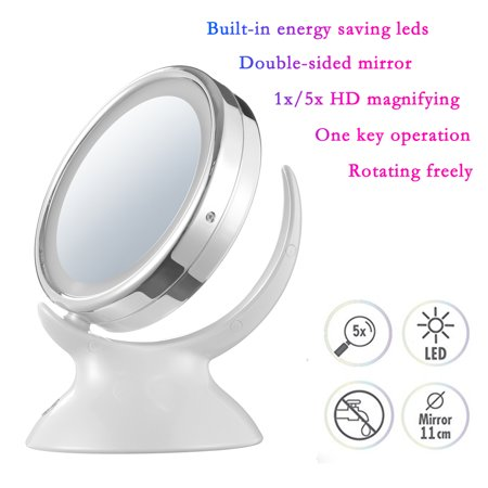 Double-sided LED Lighted Desktop Makeup Mirror 360 Degree Rotary Round 1x 5x Magnifying Silver