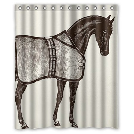 GreenDecor Ideas Horse Equestrian Waterproof Shower Curtain Set with Hooks Bathroom Accessories Size 60x72 inches (Bathroom Accessories Ideas)