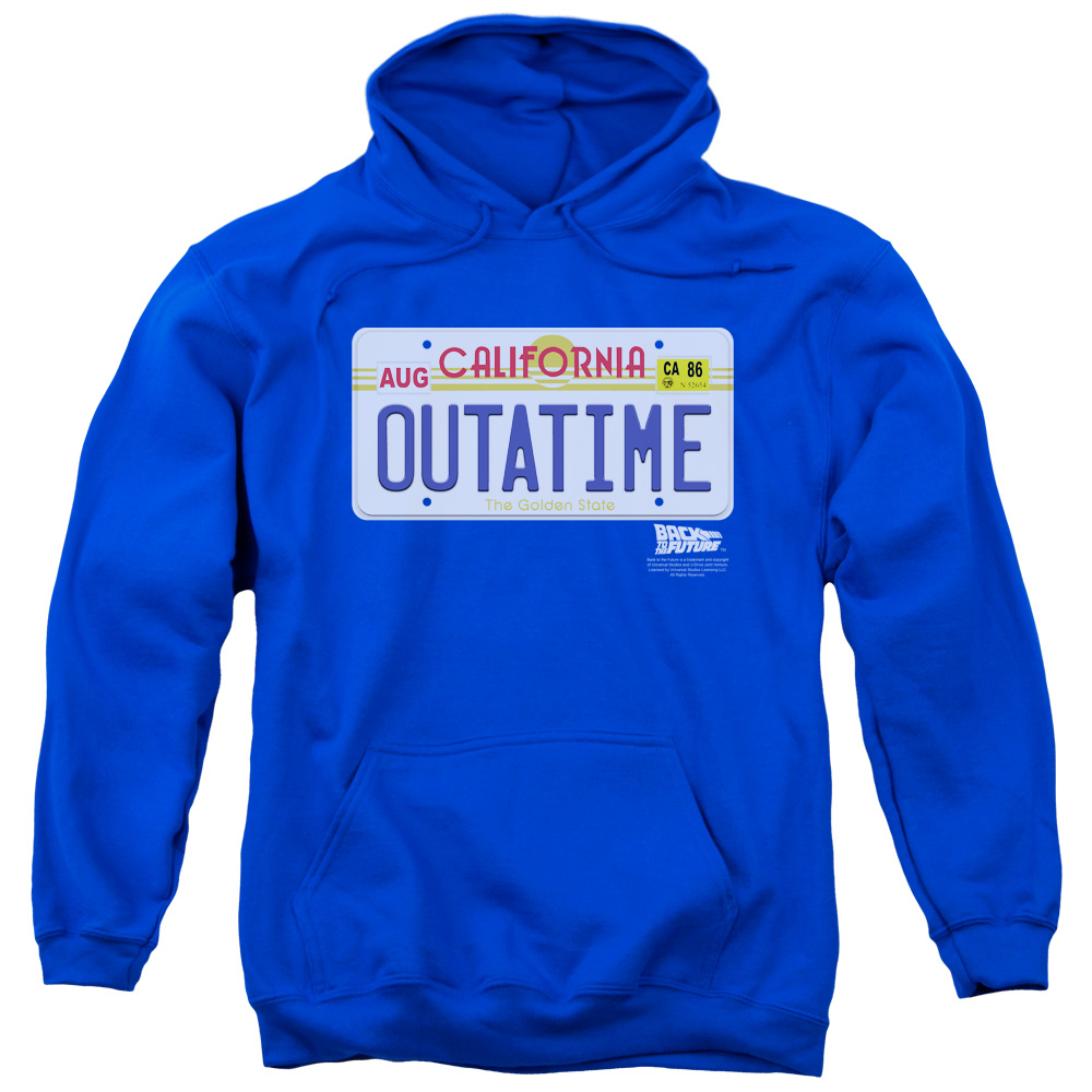BACK TO THE FUTURE/OUTATIME PLATE - ADULT PULL-OVER HOODIE - Royal Blue - 3X