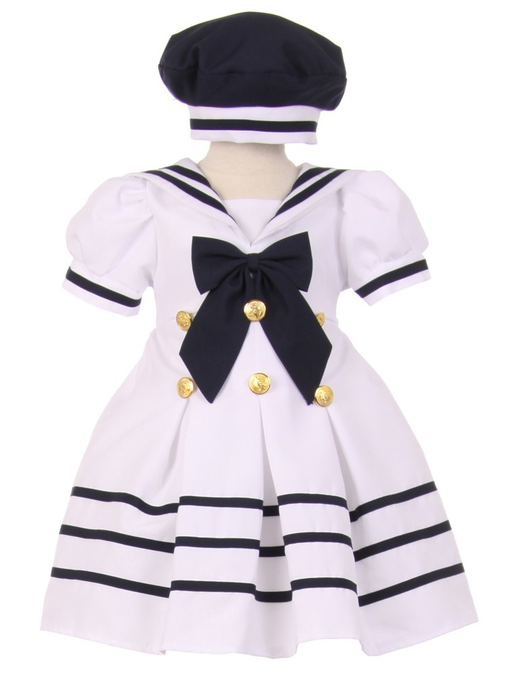 Baby Girls White Navy Striped Gold Button Pleated Sailor Hat Dress 12-24M