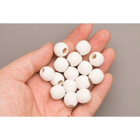 White Wood Beads Round 14mm Sold Per Pkg Of 50 Beads