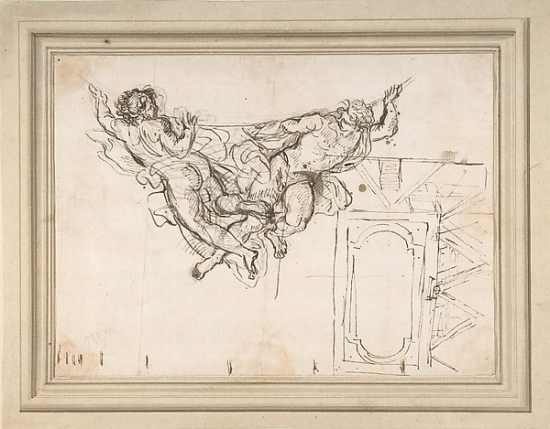 Study for Nude Male Figures Supporting a Frame and Plan of the Ceiling Decoration of... by Public Domain Images