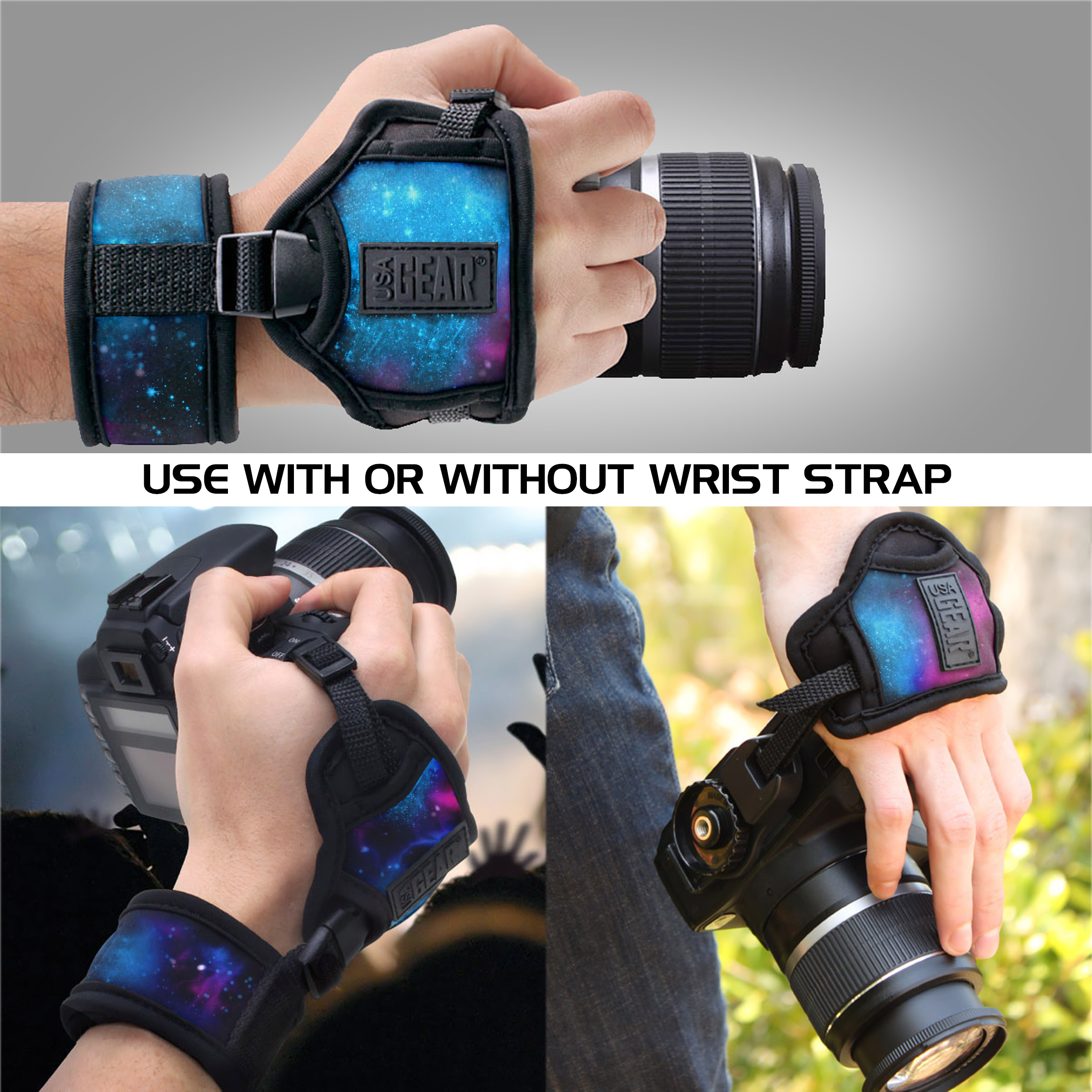Nikon Compatible with Canon Sony and more DSLR Fujifilm Point /& Shoot Cameras USA GEAR Professional Camera Grip Hand Strap with Galaxy Neoprene Design and Metal Plate Mirrorless