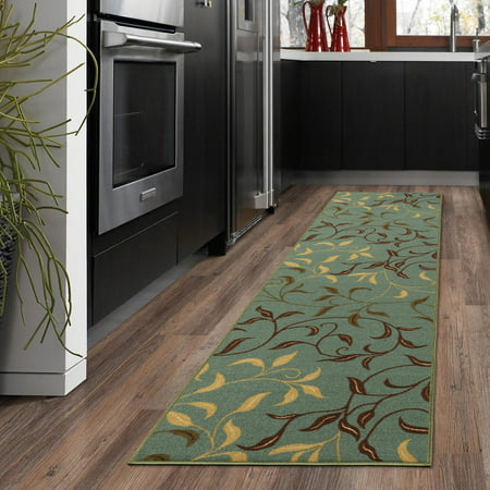 Ottomanson Ottohome Collection Contemporary Leaves Design Non-Skid Rubber Backing Area or Runner Rug, Seafoam