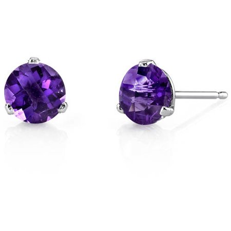 1.50 Carat T.G.W. Round-Cut Amethyst 14kt White Gold Stud Earrings