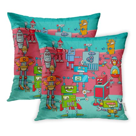 BOSDECO Artificial Cartoon of Funny Robots Science Fiction Characters Big Group Intelligence Pillowcase Pillow Cover 18x18 inch Set of 2 - image 1 de 1