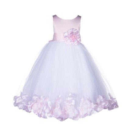 Ekidsbridal Satin Floral Tulle Rose Petals Flower Girl Dress Bridesmaid Wedding Pageant Toddler Easter Communion Birthday Baptism Occasions 167S