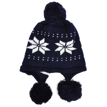 Winter Ski Knit Snowflake Cable Earflap Beanie for Women with Pom, Dark Blue