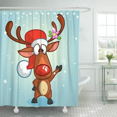 PKNMT Brown Cartoon Red Nose Reindeer Rudolph Cute Elf Christmas Characters Cap Waterproof Bathroom Shower Curtains Set 66x72 (Rudolph The Red Nosed Reindeer Elf Name)