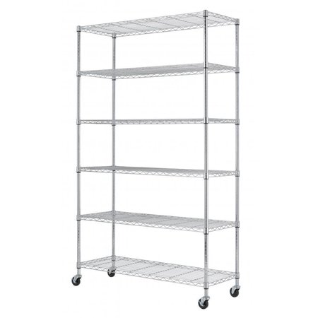Chrome Commercial 82 X48 X18  6 Tier Layer Shelf Adjustable Wire Metal Shelving Rack