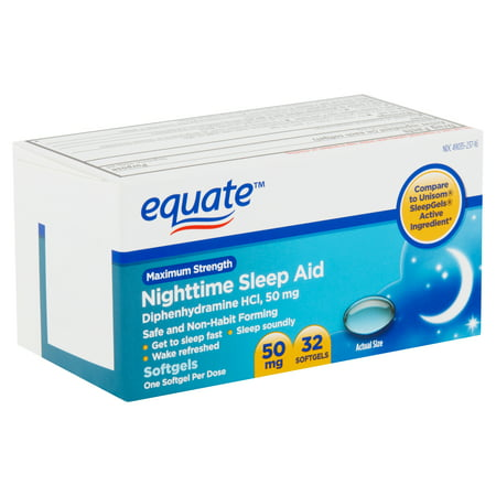 Equate Maximum Strength Nighttime Sleep Aid Softgels, 50 mg, 32 Count