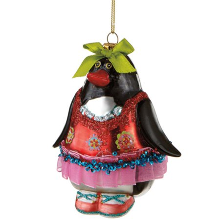 "4"" Glitzy Glass Penquin in Red and Pink Dress Christmas Ornament - image 1 de 1"