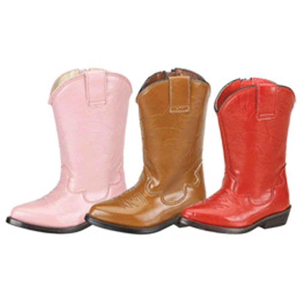 Trendy Classic Cowboy Side Zipper Boots Girls 5-6