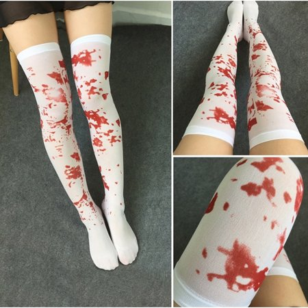 Girl12Queen Women Over The Knee Socks Blood Stained Bloody Socks Halloween Party Costume - Halloween Blood Stains