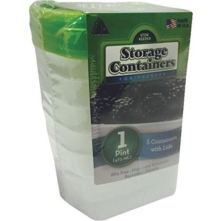 00042 5 Pack 1 Pint Stor-Keeper Freezer Storage Containers, Quantity of 7:  5 packs , Pint White Plastic Freezer Storage Containers With Lids By Arrow