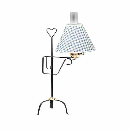 Table Lamp Black Wrought Iron Blue Shade (Black Wrought Iron Horse)