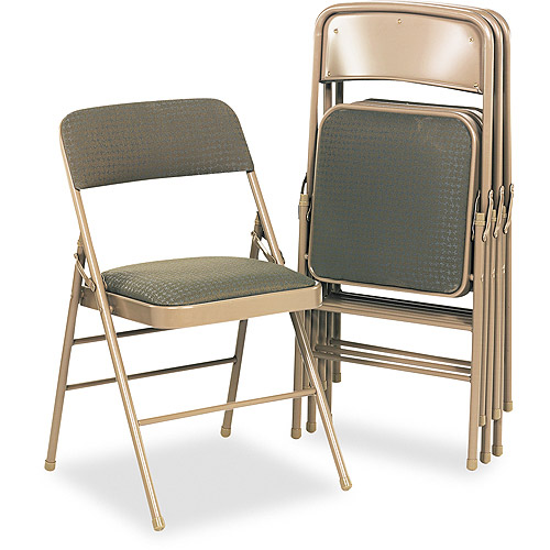 Bridgeport Fabric Padded Seat/Back Folding Chair, Taupe Frame, Taupe