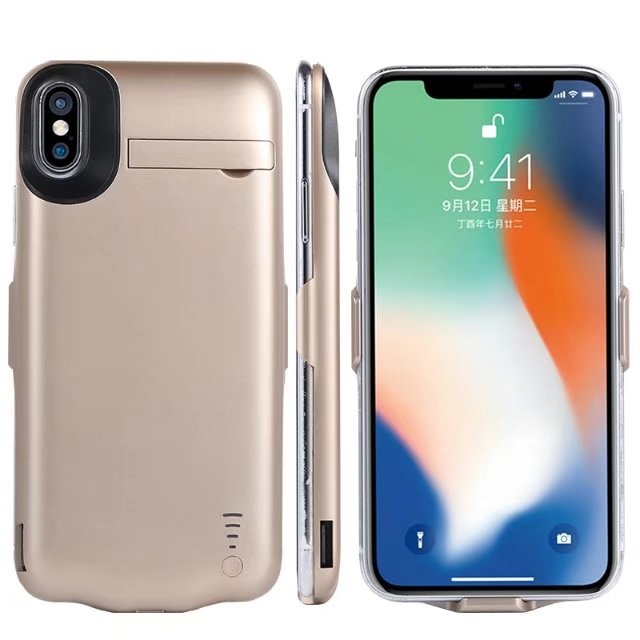 Apple IPhone X / IPhone 10 Rechargeable External Battery Portable Power Charger Protective Charging Case 5000mAh with Stand