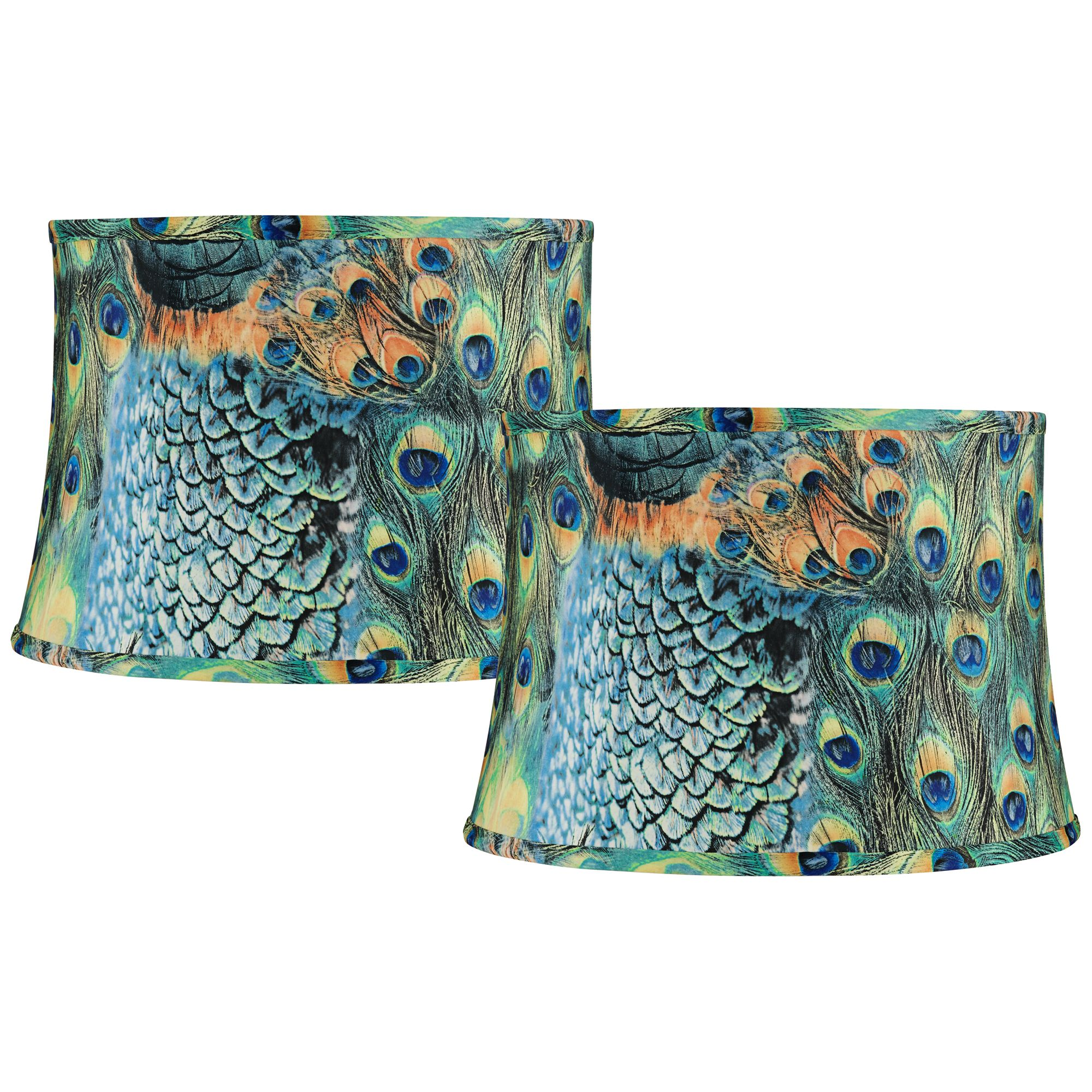 Springcrest Set of 2 Peacock Print Drum Lamp Shades 14x16x11 (Spider)
