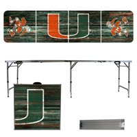Miami Hurricanes Weathered Design 8' Portable Folding Tailgate Table