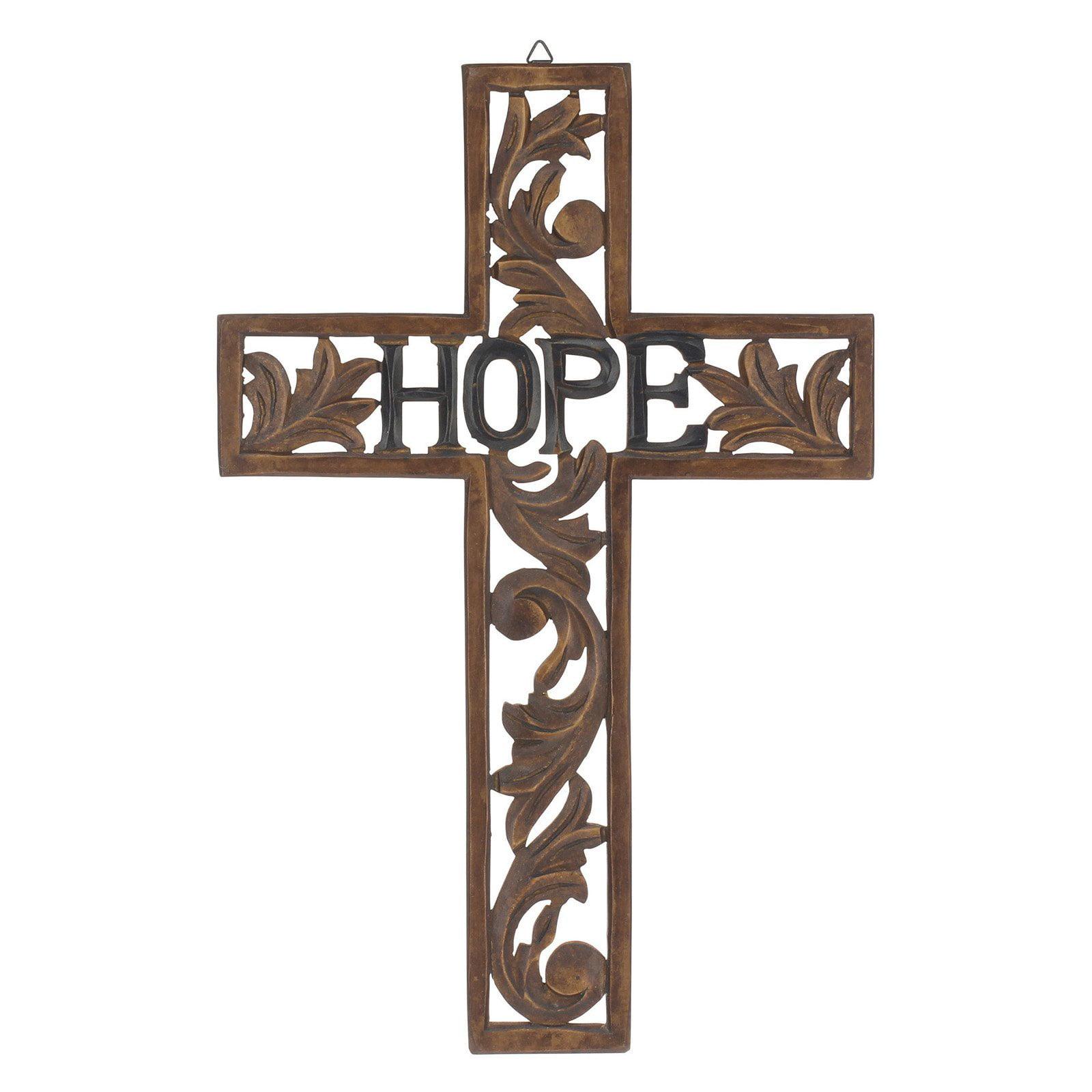 CKK Home Decor Natural Wood Hope Wall Cross Sculpture by
