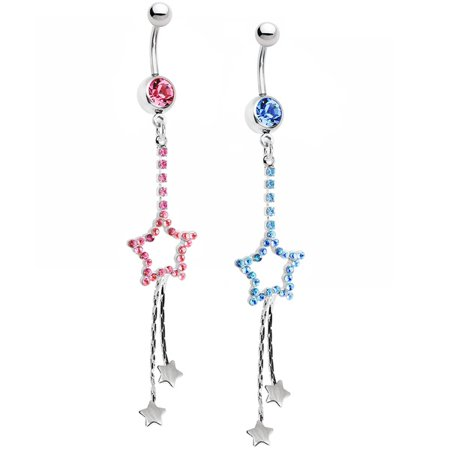 14ga Belly Ring Dangle-Style CZ Gem Stars 316L Surgical Steel