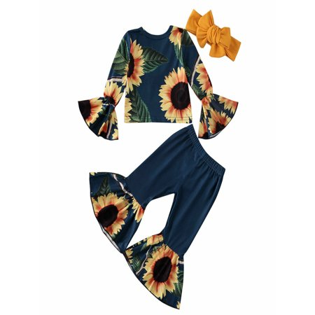 Toddler Baby Kids Girl Clothes Flares Crop Top+ Pants Bell Bottoms Outfits Set