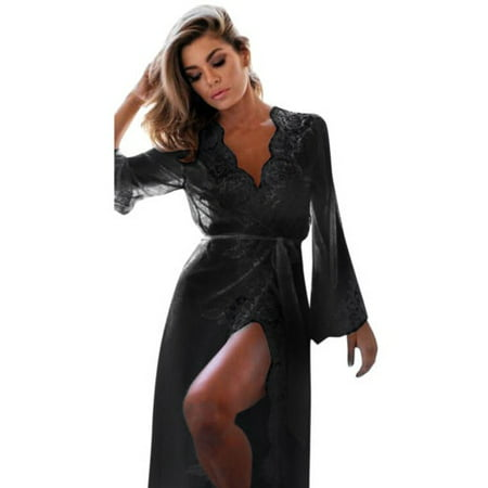 Womens Lace Long Sleeve Sexy Lingerie Nightwear Sleepwear Babydoll Robes Dress