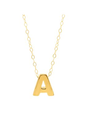 """Petite Expressions  'a' Initial Pendant Necklace in 10kt Gold, 17"""""""
