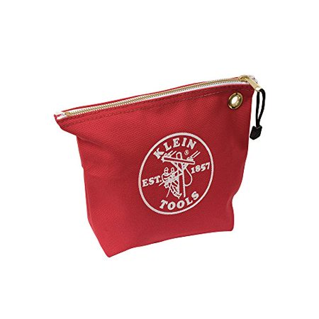 Klein Tools 5539RED Canvas Zipper Pouch, 10-Inch Tool Bag Storage Organizer, Red Klein Tools Canvas Zipper Bag