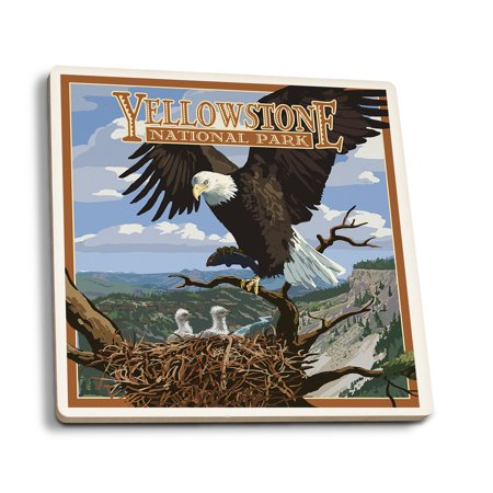 Yellowstone National Park, Wyoming - Eagle Perched - Lantern Press Artwork (Set of 4 Ceramic Coasters - Cork-backed, Absorbent)
