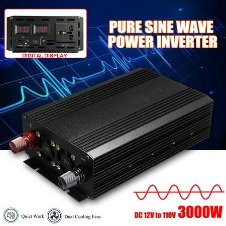 4000W 60Hz Pure Sine Wave Power Inverter DC 12V to 110V AC Converter Car (Pure Sine Wave Inverter Vs Normal Inverter)