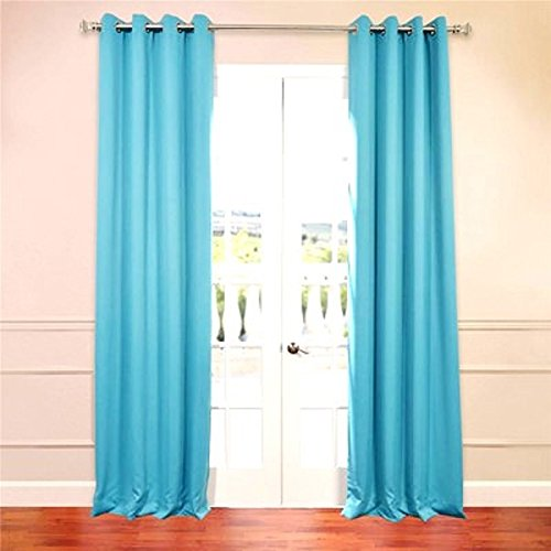 "(#32) Hotel Quality SILVER Grommet Top, FAUX SILK 1 PANEL TURQUOISE SOLID THERMAL FOAM LINED BLACKOUT HEAVY THICK WINDOW CURTAIN DRAPES  GROMMETS 63"" LENGTH"