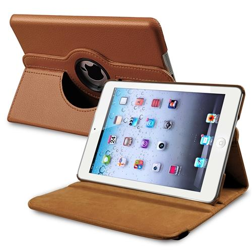 Insten Rotating Multi Angle Stand Leather Case Cover For Apple iPad Mini 3 (2014) / 2 (2013) / 1 (2012) , Brown