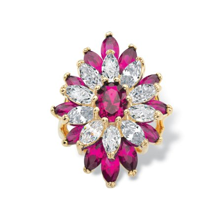 Oval and Marquise-Cut Created Red Ruby and Cubic Zirconia Floral Ring 10.45 TCW 14k Gold-Plated ()