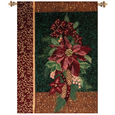 Christmas Wall Hanging (Winter Poinsettia with Christmas Pine Cotton Tapestry Wall Hanging 36