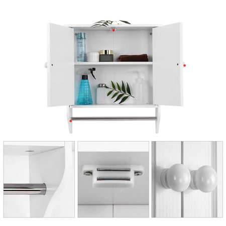 Wall Mount Wooden Organizer Towels Clothes Storage Cabinet Bathroom Kitchen Laundry
