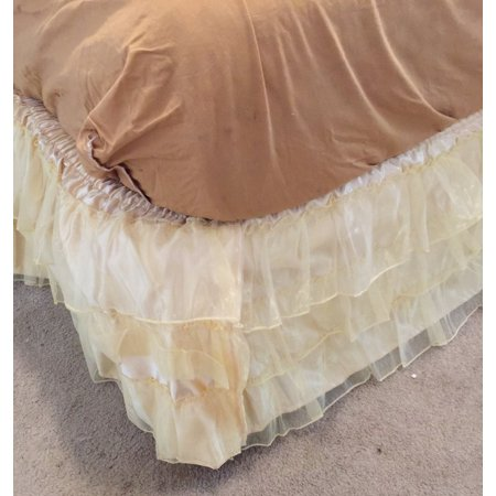 Satin Ruffle - 3 Layered Ruffled Organza face with Quality satin underneath Bed skirt dust ruffle , Available at Twin, Full, Queen King bed skirt