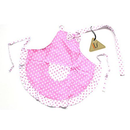 Kids Holiday Apron Set - Princess White Pink Dot Bow Frill Adjustable Kid Cotton Apron