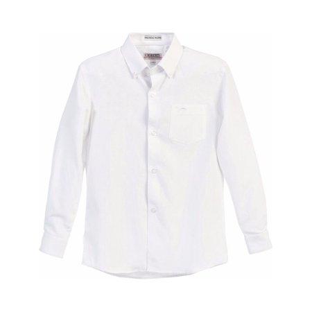 Gioberti Little Boys White Chest Pocket Long Sleeved Oxford Dress - Boys Dress Up Chest