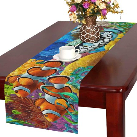 MKHERT Tropical Fishes and Coral Reef Table Runner Home Decor for Wedding Banquet Decoration 16x72 Inch - Coral Reef Decoration