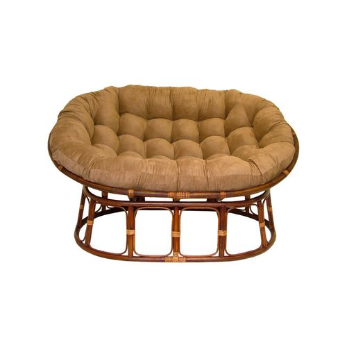 International Caravan Rattan Double Papasan Chair With Micro Suede Cushion