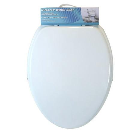 Remarkable Aquaplumb Cts104W Elongated Wood Toilet Seat White Machost Co Dining Chair Design Ideas Machostcouk