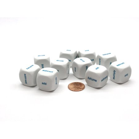 Pack of 10 20mm Math 4 Function Word Dice (add-subtract-multiply-divide) -